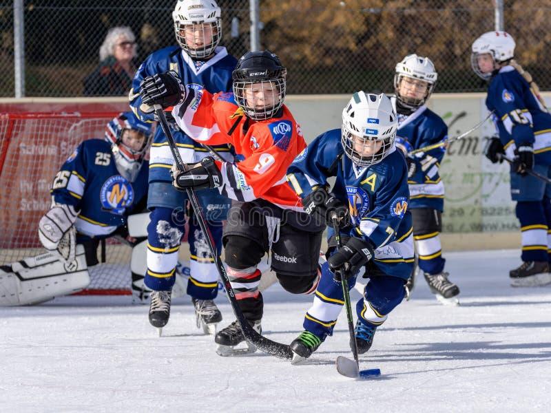 Crianças alemãs que jogam o hóquei em gelo foto de stock royalty free