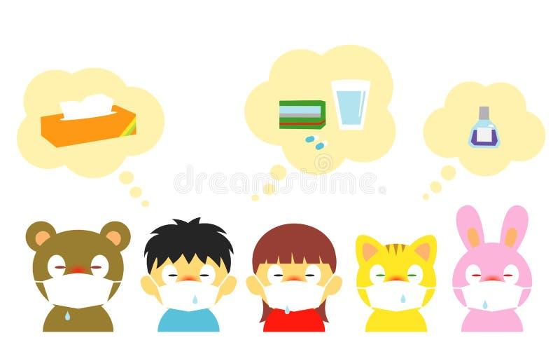 Crianças, alergia, frio, máscara ilustração royalty free