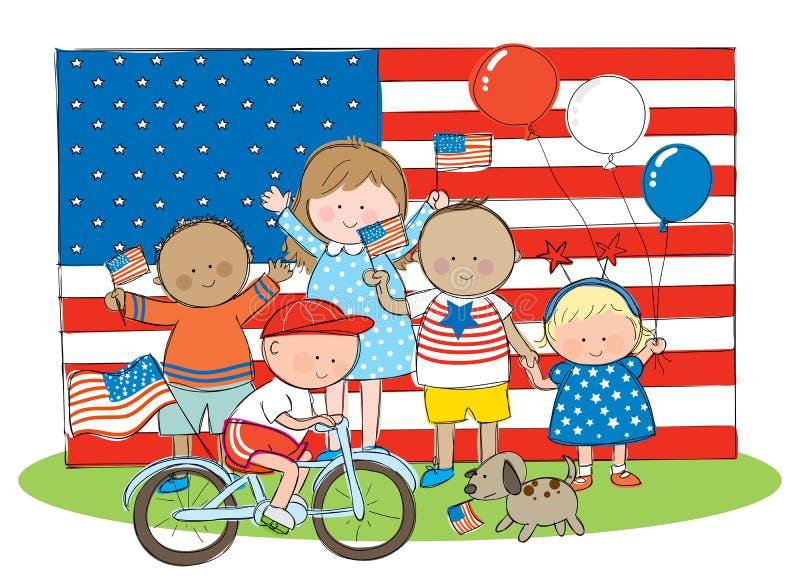 Crianças americanas ilustração do vetor