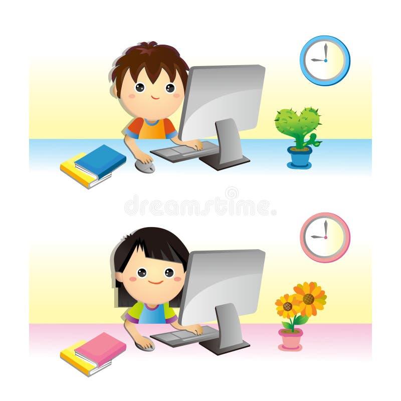 Crianças & computador ilustração stock