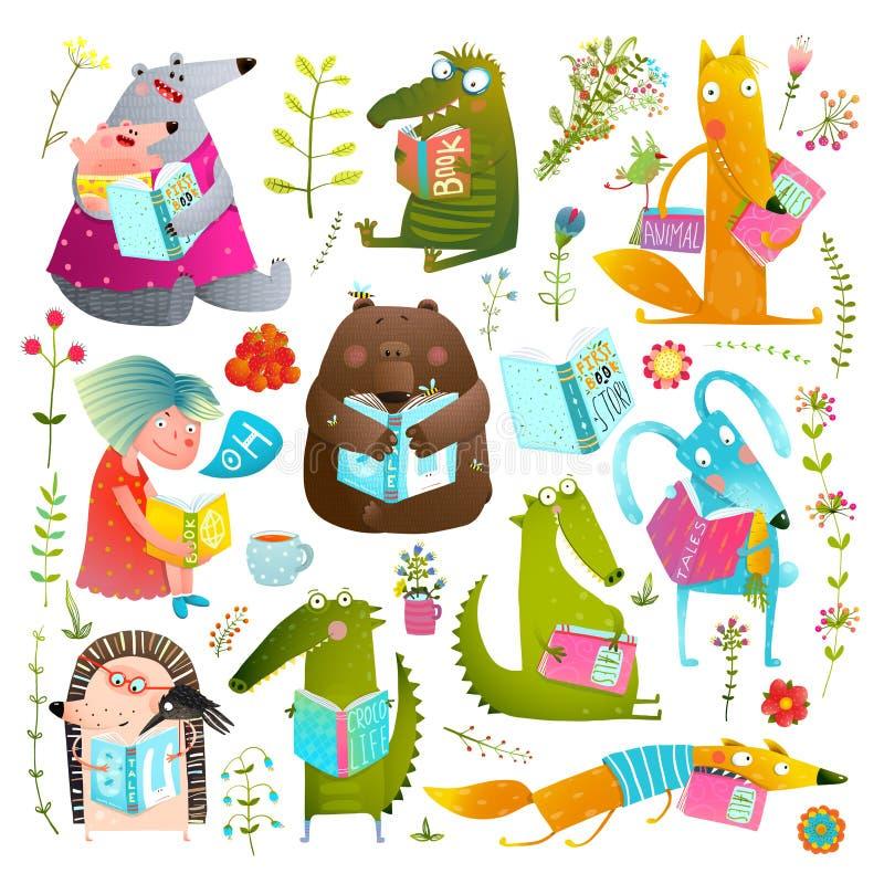 Crianças animais engraçadas que estudam a coleção de livros da leitura ilustração royalty free
