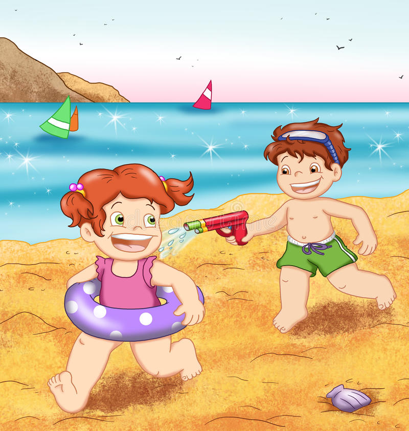 Crianças ao mar ilustração stock