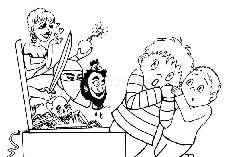 Crianças assustado pelo lineart do Internet ilustração stock