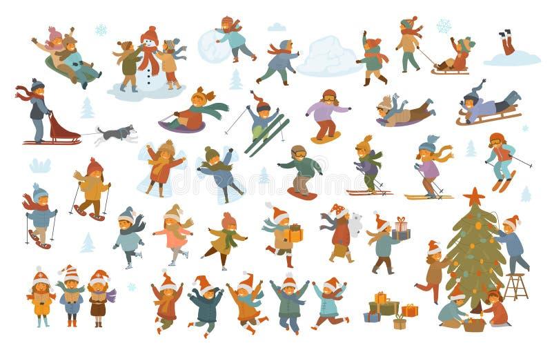 Crianças ativas do inverno e do Feliz Natal, menino e meninas fazendo o anjo da neve do boneco de neve, jogo, sledding, patinagem ilustração do vetor