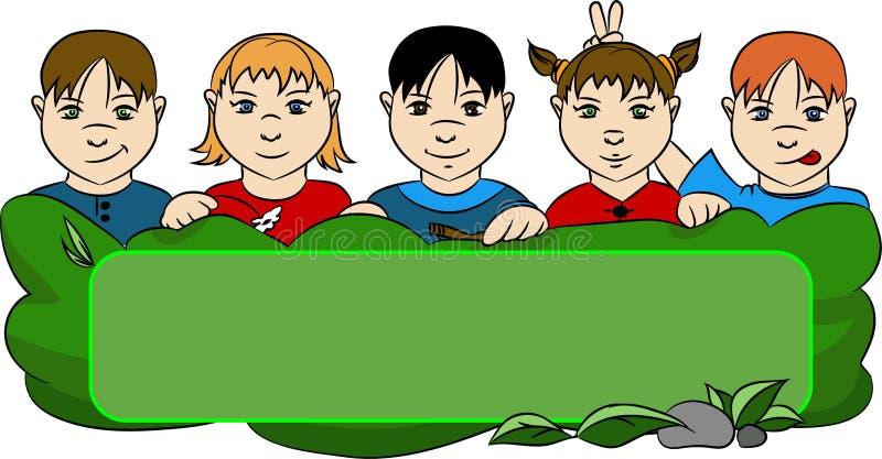 Crianças atrás da grama ilustração stock