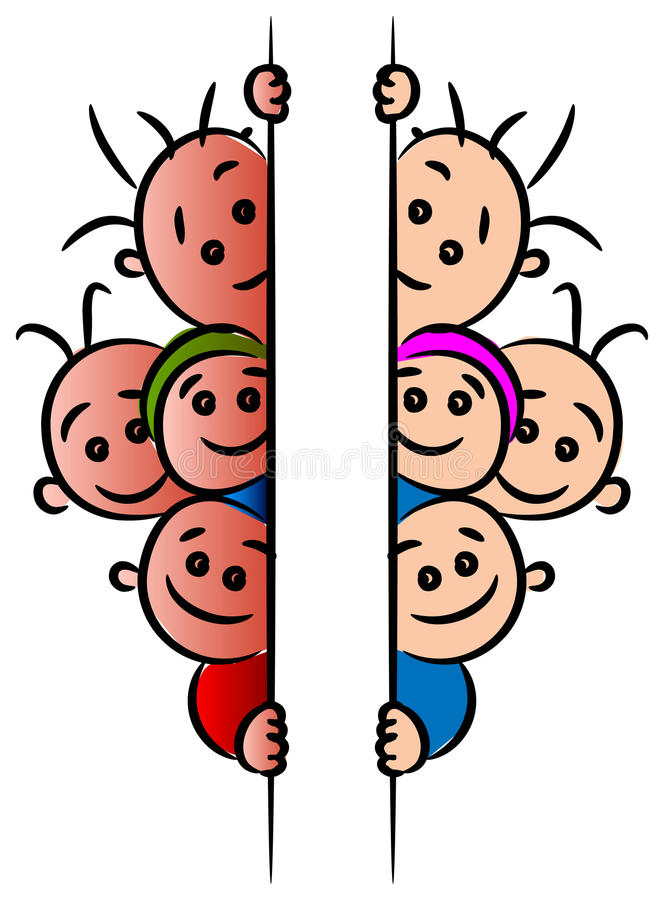 Crianças atrás de uma bandeira ilustração stock