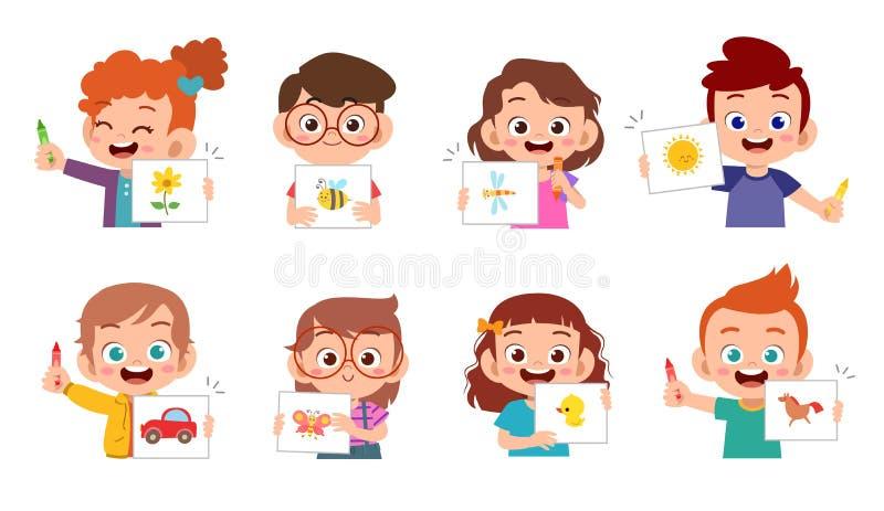 crianças bonitas e felizes desenham com giz de cera ilustração do vetor