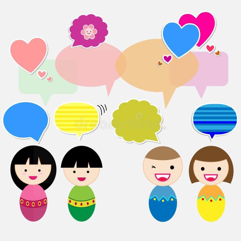 Crianças bonitos com bolhas do discurso ilustração do vetor