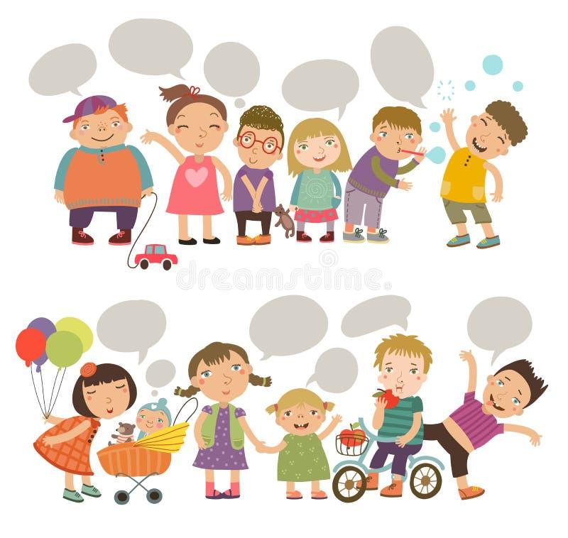 Crianças bonitos com bolhas do discurso Crianças ajustadas ilustração do vetor