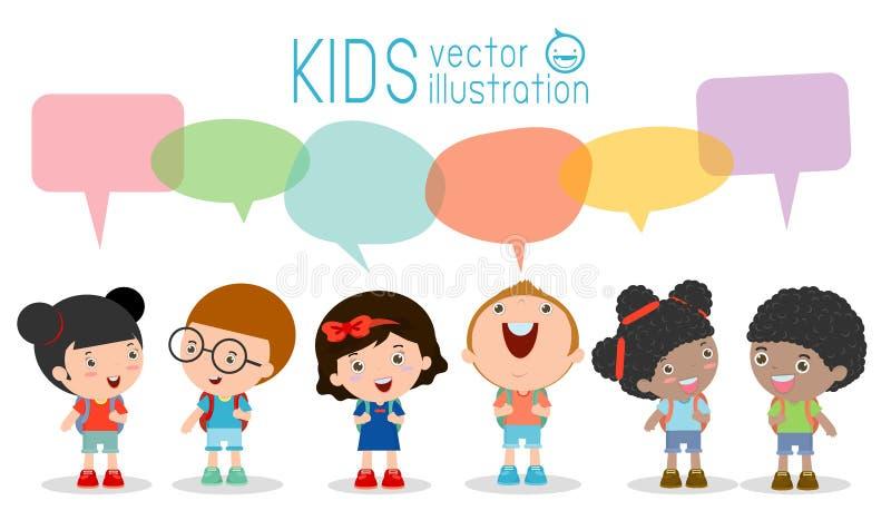 Crianças bonitos com bolhas do discurso, grupo de crianças diversas e nacionalidades diferentes com as bolhas do discurso isolada ilustração do vetor