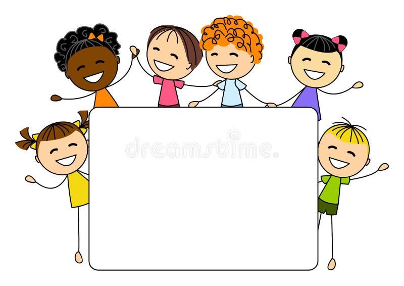 Crianças bonitos com cartão de papel ilustração stock