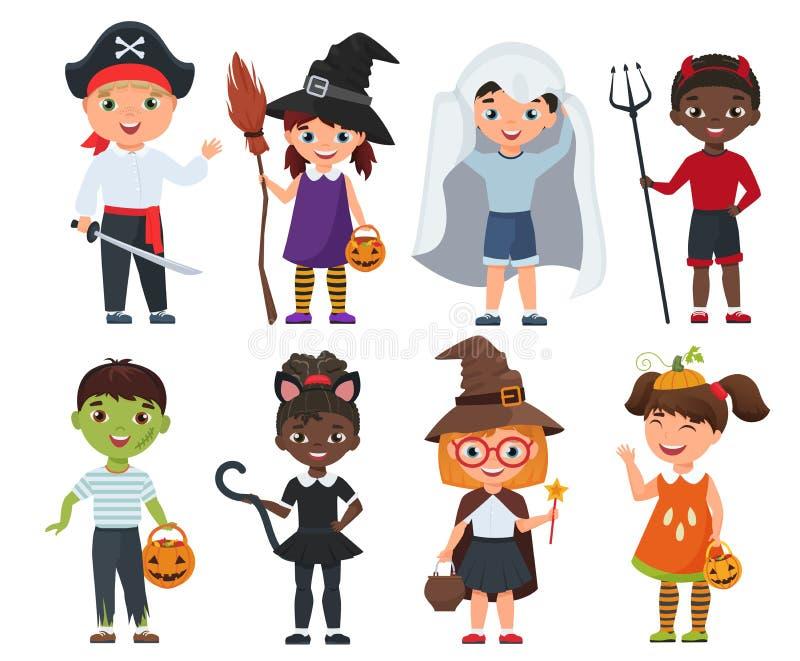 Crianças bonitos de Dia das Bruxas ajustadas Ilustração do vetor dos desenhos animados ilustração royalty free