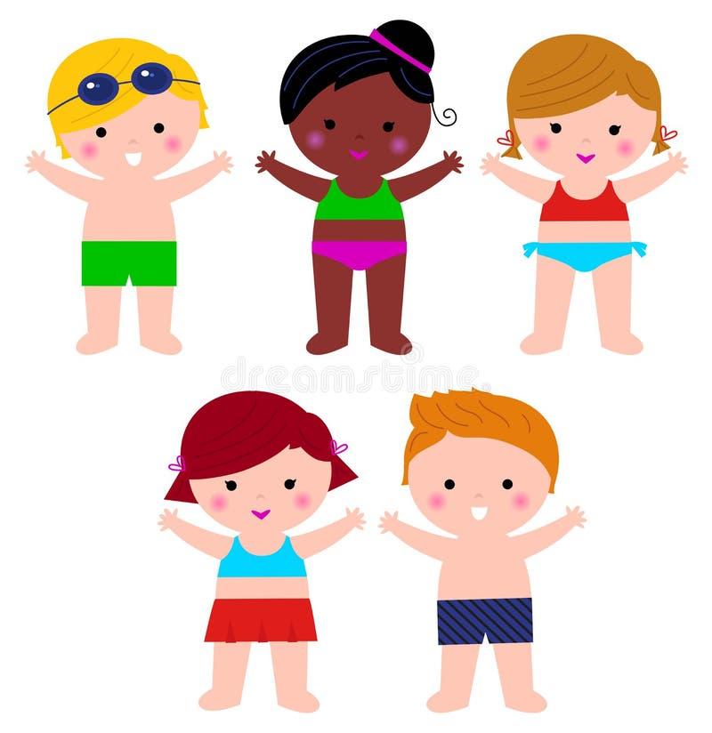 Crianças bonitos do verão no grupo do roupa de banho ilustração do vetor