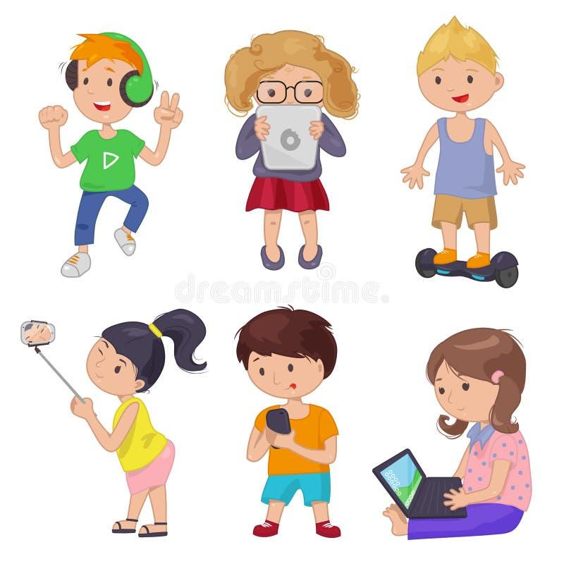 Crianças bonitos dos desenhos animados, dispositivo esperto ilustração do vetor
