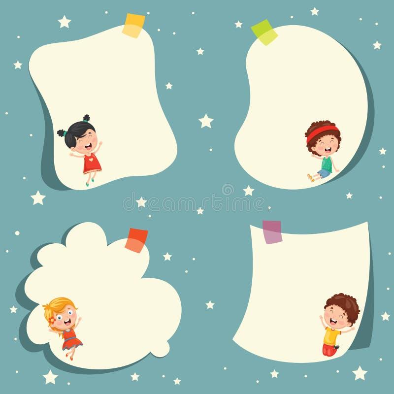Crianças bonitos dos desenhos animados e projeto vazio do molde ilustração stock