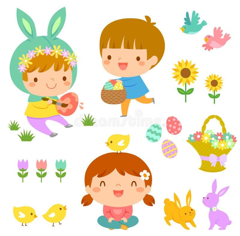 Crianças bonitos e ícones da Páscoa ilustração do vetor