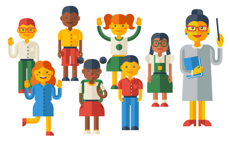 Crianças bonitos e professor fêmea Characters ilustração do vetor