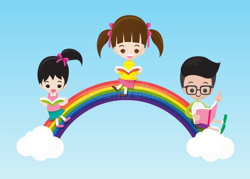 Crianças bonitos menino e menina do conceito da educação que leem um livro ilustração do vetor