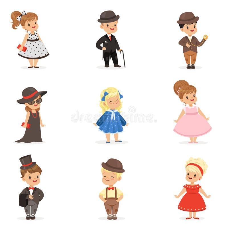 Crianças bonitos na roupa elegante para eventos sociais oficiais Crianças em ilustrações coloridas dos desenhos animados históric ilustração stock