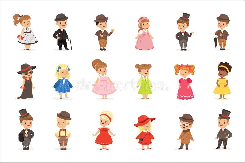 Crianças bonitos na roupa elegante para eventos sociais oficiais Crianças em ilustrações coloridas dos desenhos animados históric ilustração royalty free