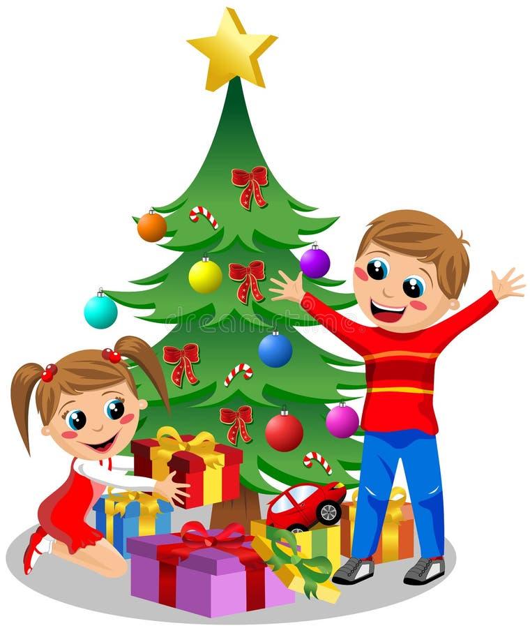 Crianças bonitos que abrem presentes do Natal ilustração stock