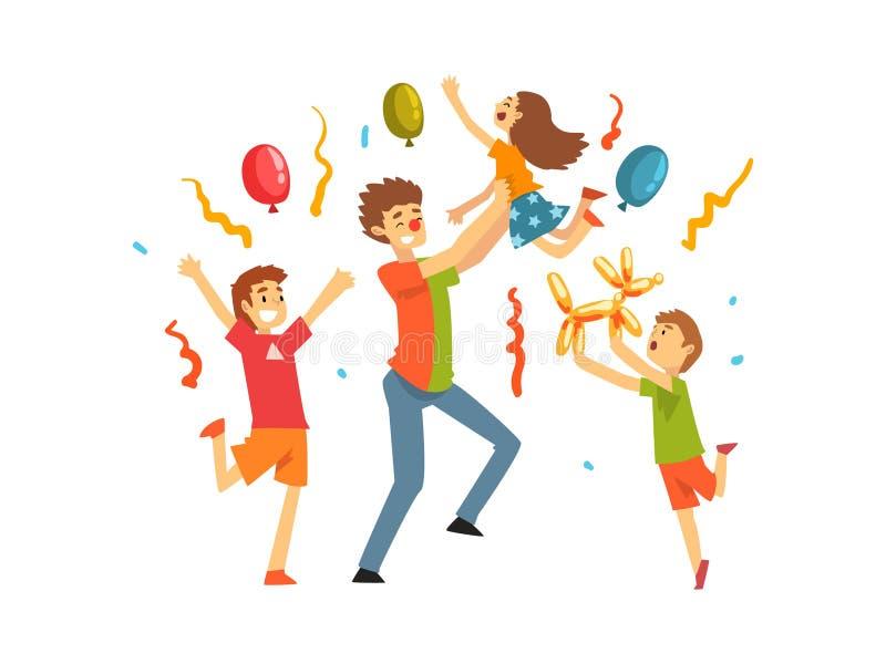 Crianças bonitos que comemoram o partido, crianças felizes que têm o divertimento com o palhaço no aniversário, partido do carnav ilustração do vetor