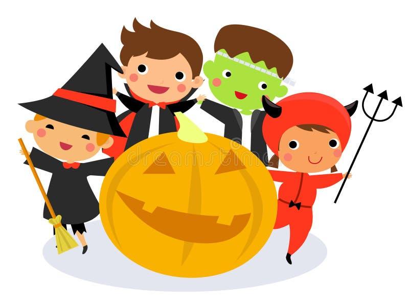 Crianças bonitos que vestem o traje do monstro de Dia das Bruxas ilustração royalty free