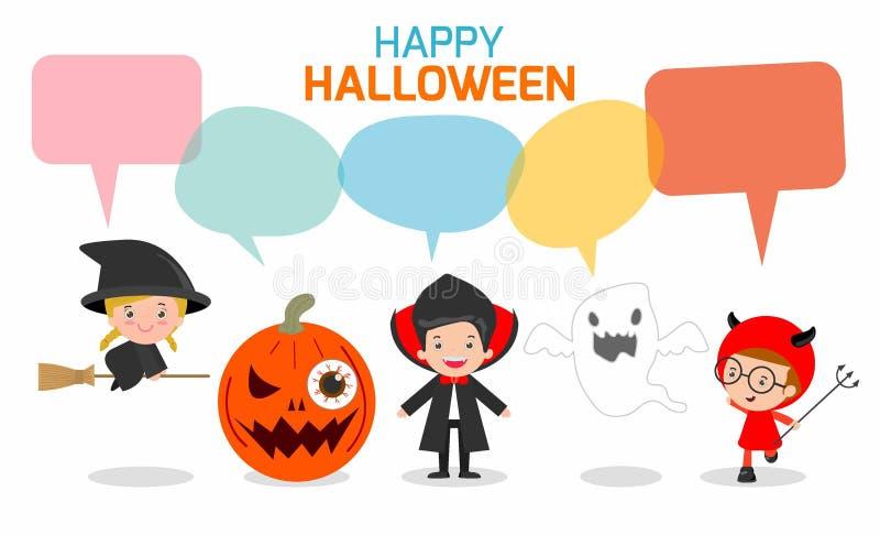 Crianças bonitos que vestem o traje do monstro de Dia das Bruxas com as bolhas do discurso isoladas no fundo branco ilustração do vetor
