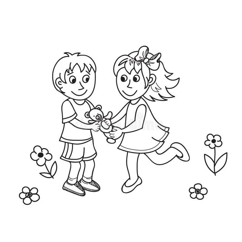 Crianças bonitos tiradas mão com urso de peluche ilustração do vetor