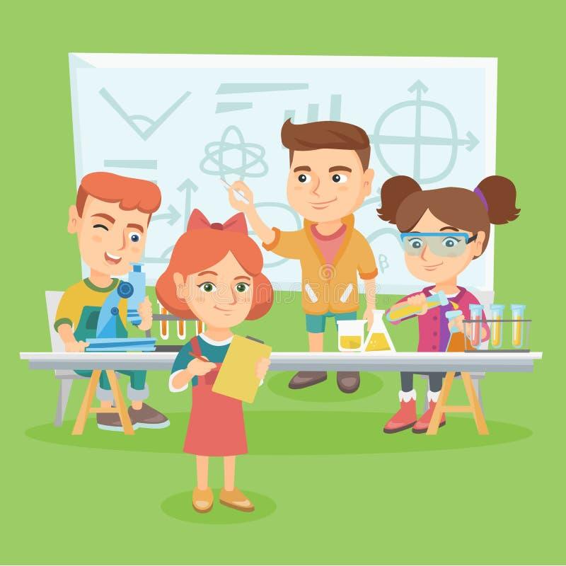 Crianças caucasianos que trabalham na classe de química ilustração stock