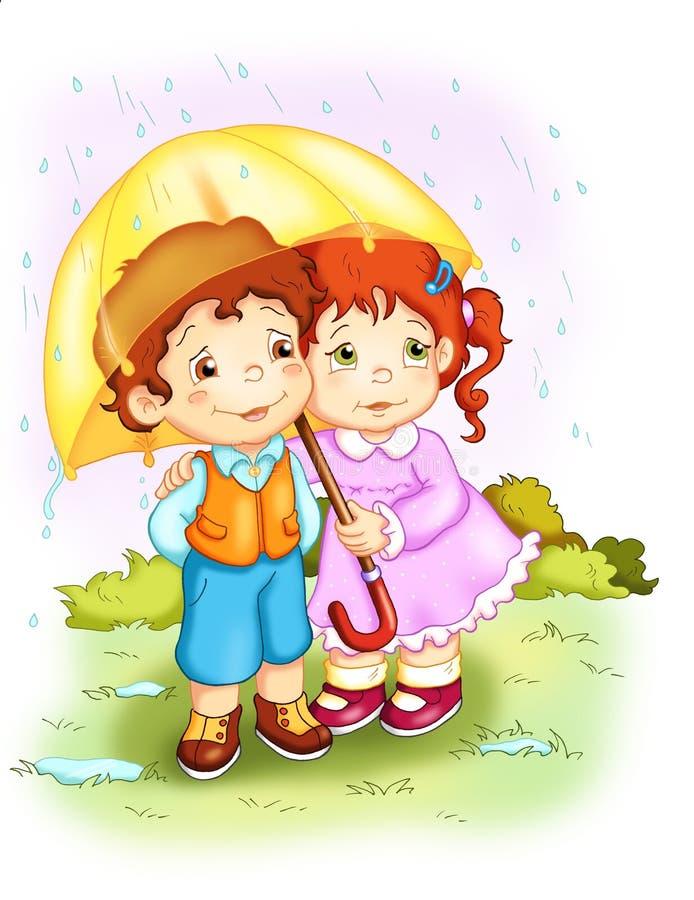 Crianças. A chuva ilustração royalty free