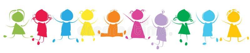 Crianças coloridas ilustração stock