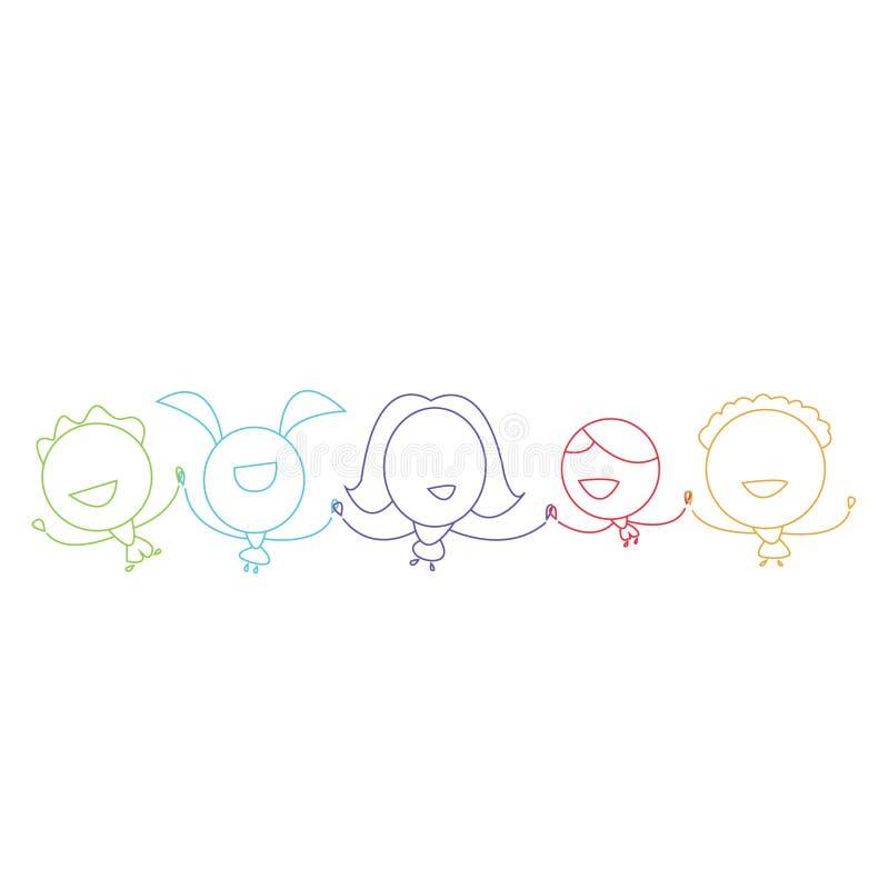 Crianças coloridas da silhueta estilizado que mantêm as mãos felizes ilustração stock