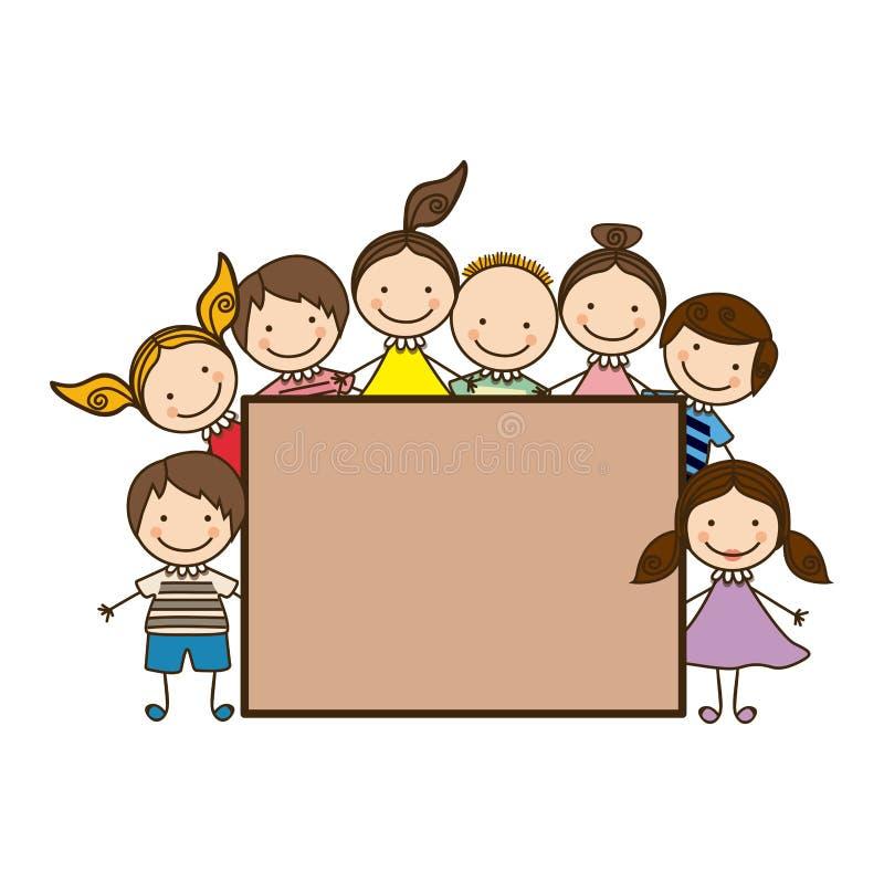 Criancas Coloridas Dos Desenhos Animados Do Grupo Com Quadro Da