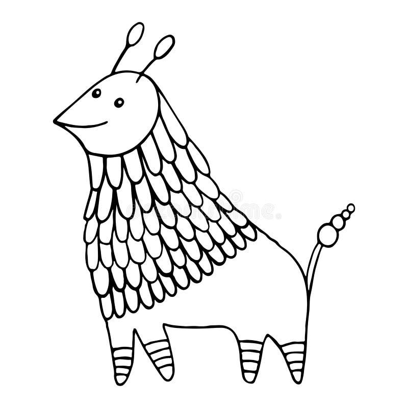 Crianças colorindo decorativas da página do caráter animal da fantasia e página adulta Criatura engraçada dos desenhos animados d ilustração do vetor