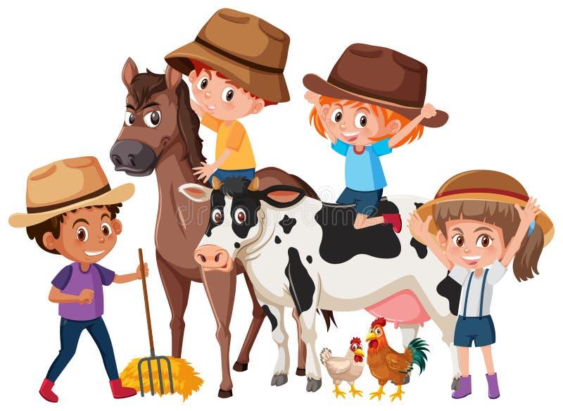 Crianças com animais de exploração agrícola ilustração stock