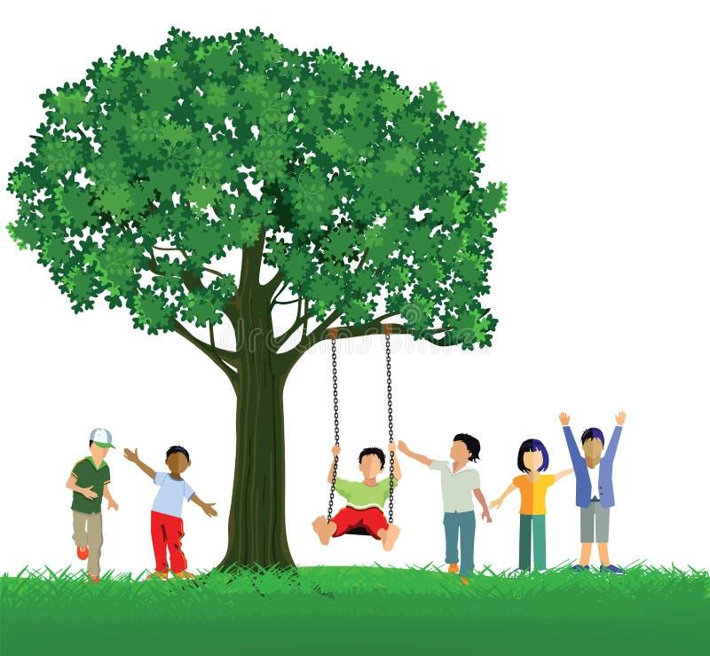 Crianças com balanço da árvore ilustração do vetor