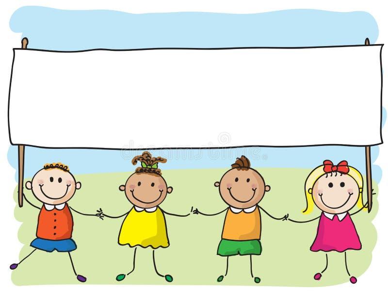 Crianças Com Bandeira Fotos de Stock Royalty Free