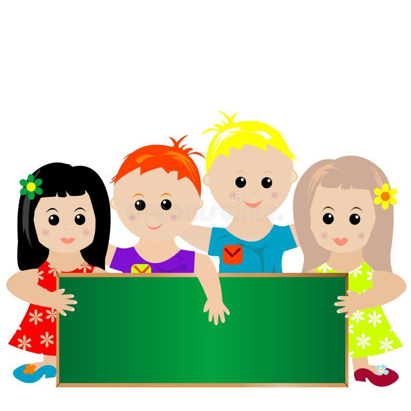 Crianças com bandeira verde ilustração stock