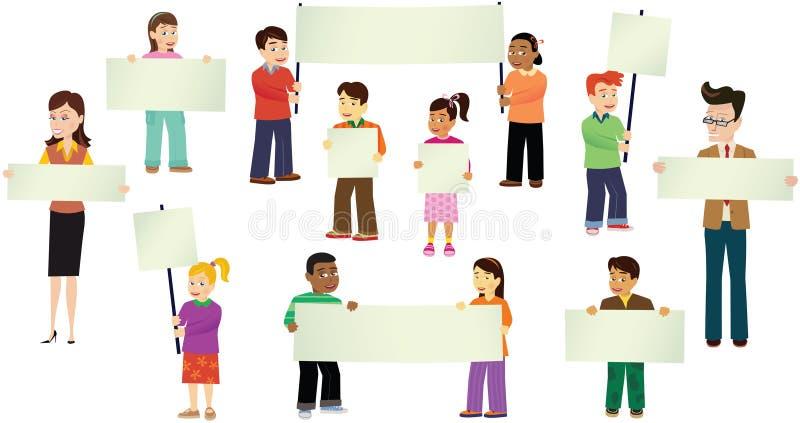Crianças com bandeiras sortidos ilustração stock