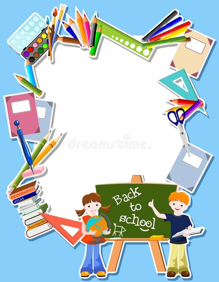 Crianças com blackbord e fornecedores ilustração royalty free