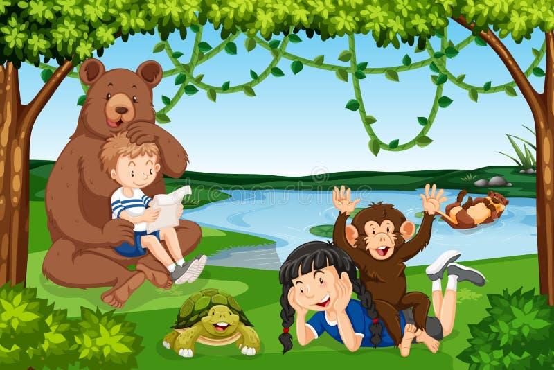 Crianças com cena dos animais selvagens ilustração stock