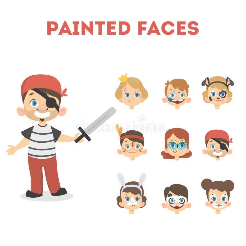 Crianças com cores ilustração stock