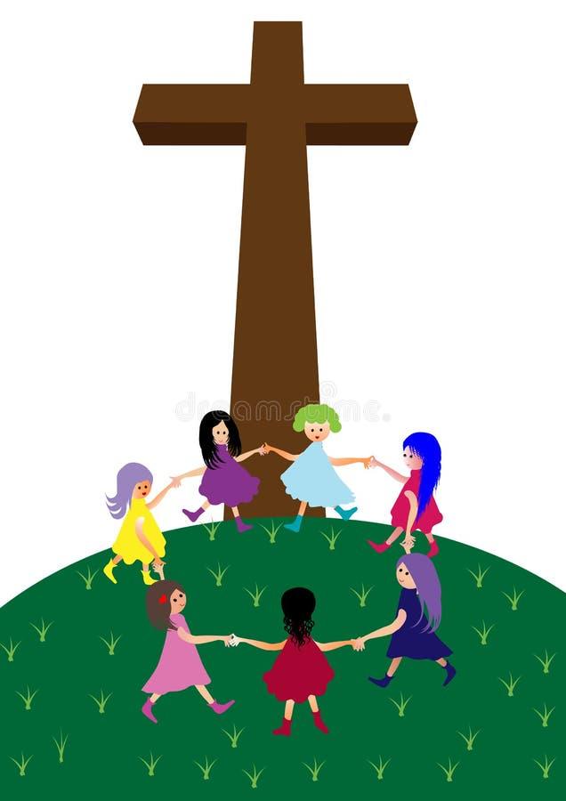 Crianças com cruz ilustração stock