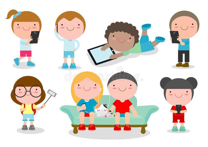 Crianças com dispositivos, caráteres menino das crianças e menina com móbil, crianças com dispositivos, tabuleta da criança, pess ilustração royalty free