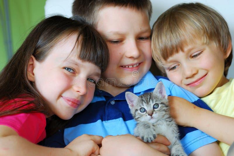 Crianças com gatinho fotografia de stock royalty free