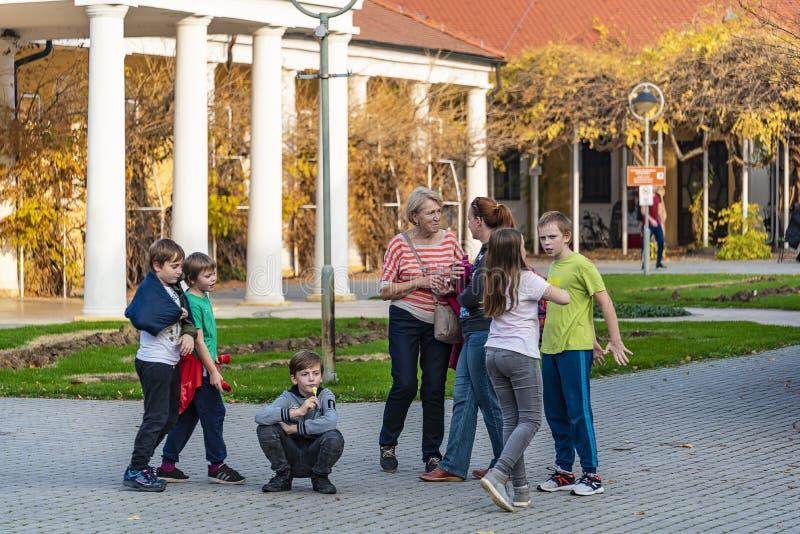 Crianças com a mãe e a avó que jogam no parque fotografia de stock