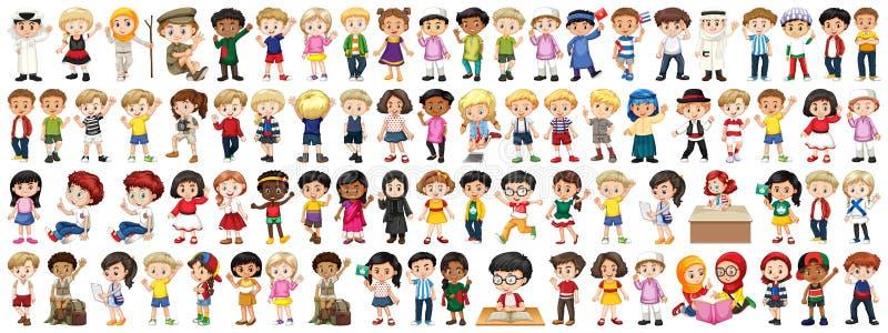 Crianças com nacionalidades diferentes no fundo branco ilustração royalty free