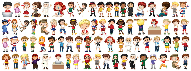 Crianças com nacionalidades diferentes no fundo branco ilustração do vetor