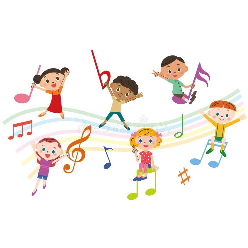 Crianças com notas da música ilustração do vetor